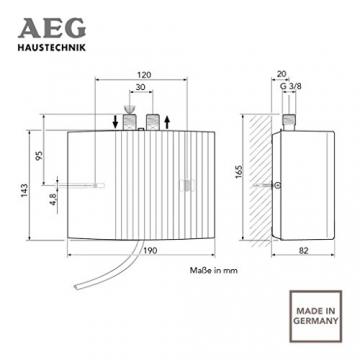 AEG 189554 MTH 350 hydraulischer Klein-Durchlauferhitzer EEK A, 3,5 kW drucklos für Handwaschbecken - 8