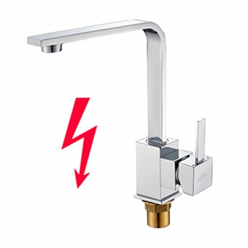 Auralum® 360°Schwenkbar Einhebelmischer Niederdruckarmatur Waschbecken Spültisch Küchenarmatur Chrom - 1