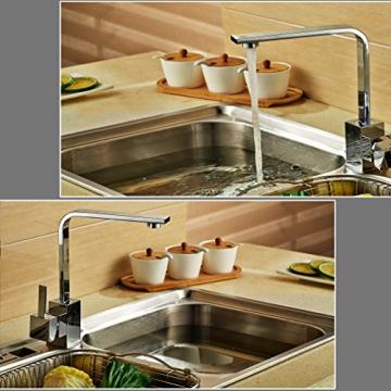 Auralum® 360°Schwenkbar Einhebelmischer Niederdruckarmatur Waschbecken Spültisch Küchenarmatur Chrom - 2
