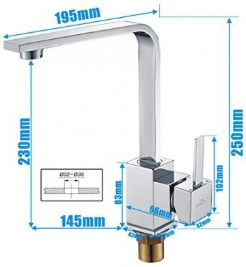 Auralum® 360°Schwenkbar Einhebelmischer Niederdruckarmatur Waschbecken Spültisch Küchenarmatur Chrom - 5