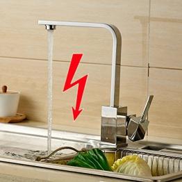 Auralum® Elegant Niederdruck Mischbatterie 360° Drehbar Armatur Wasserhahn Waschtischarmatur Einhebel Wasserfall Einhandmischer für Spüle Küche - 1