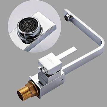 Auralum® Elegant Niederdruck Mischbatterie 360° Drehbar Armatur Wasserhahn Waschtischarmatur Einhebel Wasserfall Einhandmischer für Spüle Küche - 6