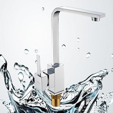 Auralum® Elegant Niederdruck Mischbatterie 360° Drehbar Armatur Wasserhahn Waschtischarmatur Einhebel Wasserfall Einhandmischer für Spüle Küche - 7