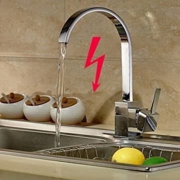 Auralum® Elegant Niederdruck Mischbatterie mit Groß C Form 360° Drehbar Armatur Wasserhahn Waschtischarmatur Einhebel Wasserfall Einhandmischer für Spüle Küche - 1