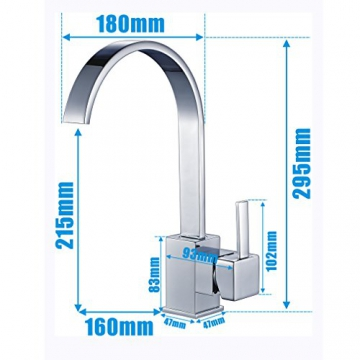 Auralum® Elegant Niederdruck Mischbatterie mit Groß C Form 360° Drehbar Armatur Wasserhahn Waschtischarmatur Einhebel Wasserfall Einhandmischer für Spüle Küche - 2
