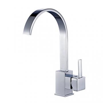 Auralum® Elegant Niederdruck Mischbatterie mit Groß C Form 360° Drehbar Armatur Wasserhahn Waschtischarmatur Einhebel Wasserfall Einhandmischer für Spüle Küche - 3