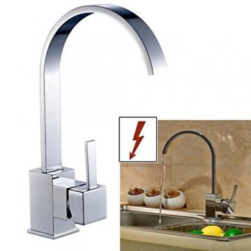 Auralum® Elegant Niederdruck Mischbatterie mit Groß C Form 360° Drehbar Armatur Wasserhahn Waschtischarmatur Einhebel Wasserfall Einhandmischer für Spüle Küche - 5