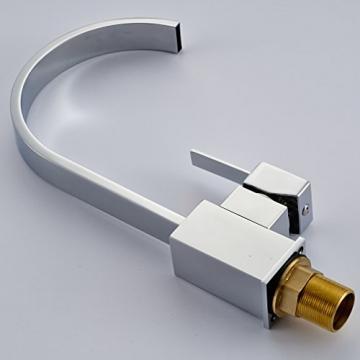 Auralum® Elegant Niederdruck Mischbatterie mit Groß C Form 360° Drehbar Armatur Wasserhahn Waschtischarmatur Einhebel Wasserfall Einhandmischer für Spüle Küche - 7