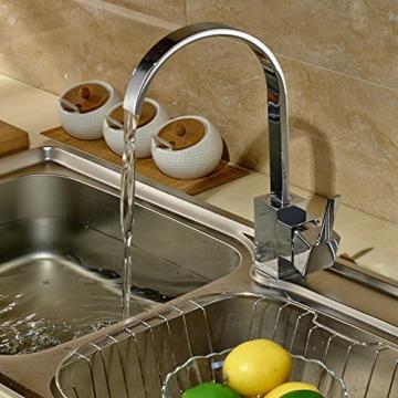 Auralum® Elegant Niederdruck Mischbatterie mit Groß C Form 360° Drehbar Armatur Wasserhahn Waschtischarmatur Einhebel Wasserfall Einhandmischer für Spüle Küche - 9