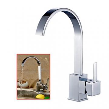 Auralum® Moderne 360°Drehbar Niederdruck Küchenamatur Waschtischarmatur Armatur Wasserhahn Spültsch Einhandmischer Waschtisch aus Messing Verchromt für Küche Waschbecken - 1