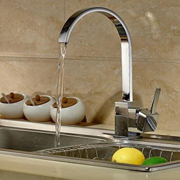 Auralum® Moderne 360°Drehbar Niederdruck Küchenamatur Waschtischarmatur Armatur Wasserhahn Spültsch Einhandmischer Waschtisch aus Messing Verchromt für Küche Waschbecken - 2