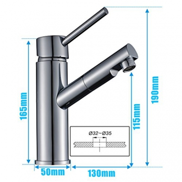 Auralum® Niederdruck Küchenarmatur Mischbatterie mit Mitteler Auslauf 360° Drehbar - 2
