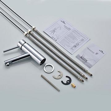 Auralum® Niederdruck Küchenarmatur Mischbatterie mit Mitteler Auslauf 360° Drehbar - 4