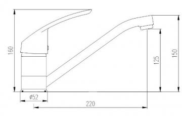 Burgtal 10880 K-12-NC Oxa Einhebel Spültisch Armatur Niederdruck Chrom - 3