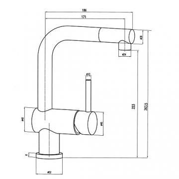 Burgtal 17610 K-33-NC Belania Einhebel Niederdruck Spültisch Küchen Armatur mit Brause - 3
