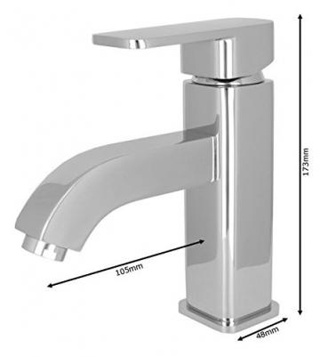 Design Niederdruck Armatur Waschbecken Massiv Einhebel Chrom - 3