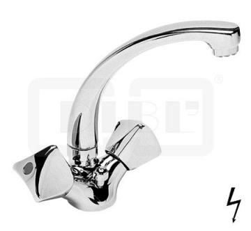 DIBL classic Zweigriff-Waschbeckenarmatur Niederdruck Gussauslauf mit Ablaufgarnitur - 1