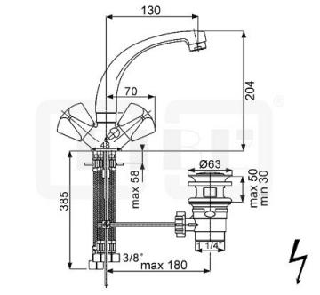 DIBL classic Zweigriff-Waschbeckenarmatur Niederdruck Gussauslauf mit Ablaufgarnitur - 2