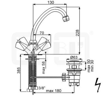DIBL classic Zweigriff-Waschbeckenarmatur Niederdruck Rohrauslauf mit Ablaufgarnitur - 2