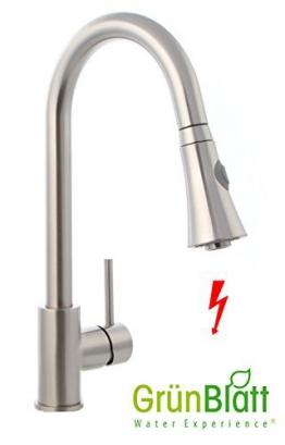 Edelstahl optik Niederdruck Küche Armatur herausziehbar Geschirrbrause Küchenarmatur Einhebelmischer Wasserhahn mit Brause Handbrause küchenarmaturen armaturen - 1