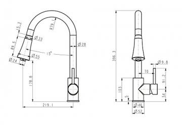 Edelstahl optik Niederdruck Küche Armatur herausziehbar Geschirrbrause Küchenarmatur Einhebelmischer Wasserhahn mit Brause Handbrause küchenarmaturen armaturen - 2
