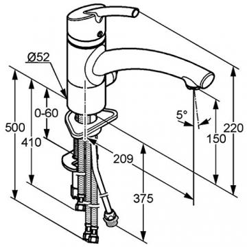 Einhebel Küchenarmatur mit Geräteanschluss,Chrom. Niederdruck. Modell: