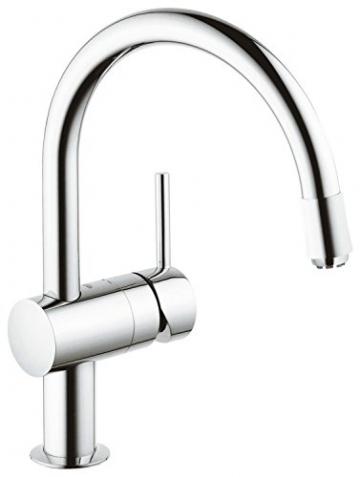 GROHE Minta Küchenarmatur, Schwenkbereich 360°, herausziehbarer Auslauf, Niederdruck, C-Auslauf 32511000 - 1