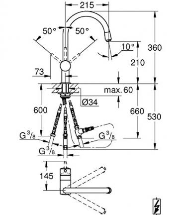 GROHE Minta Küchenarmatur, Schwenkbereich 360°, herausziehbarer Auslauf, Niederdruck, C-Auslauf 32511000 - 2