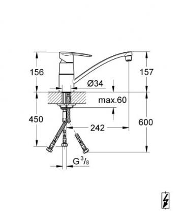GROHE Wave Einhand-Spültischbatterie, Niederdruck für offene Warmwasserbereiter 33935000 - 2