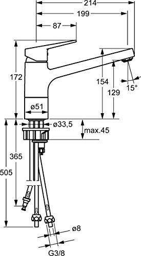Hansa Spültisch Einhand Einlochbatterie, Niederdruck, Hansatwist 0912, verchromt, 09121183 - 2