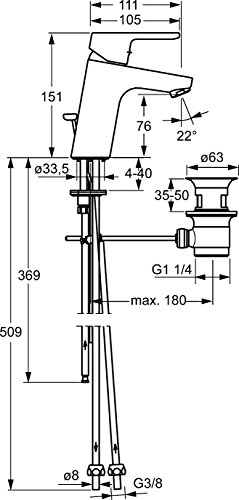 Hansa Waschtisch Einhebelmischer Hansaprimo XL mit Bedienungshebel mit Garnitur, Auslauf 111 mm, Niederdruck, verchromt, 49381103 - 2