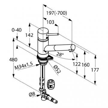 Kludi 339320575 Scope Spültischarmatur mit herausziehbarer Geschirrbrause, für drucklose Speicher, chrom - 2