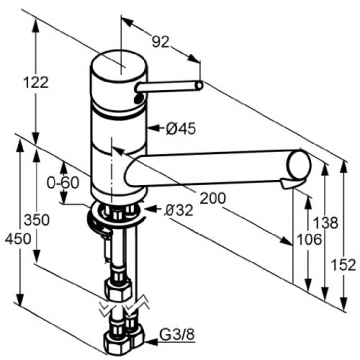 Kludi Scope 339390575  Spültisch-Einhebelmischer / Niederdruck DN10 chrom - 2