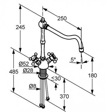 Kludi Spueltisch-Einlochbatterie Adlon Niederdruck-Ausfuehrung, verchromt, 516000520 - 3
