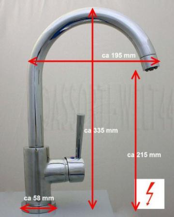 MIAMI Spültischarmatur Küchenarmatur Niederdruck CHROM - 2