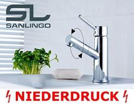 Niederdruck Design Armatur Bad Badezimmer Waschtisch Wasserhahn Chrom Einhebel Sanlingo Drehbar - 1