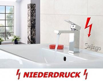 Niederdruck Design Waschbecken Waschtisch Bad Armatur Chrom Sanlingo - 2