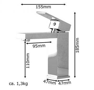 Niederdruck Design Waschbecken Waschtisch Bad Armatur Chrom Sanlingo - 3
