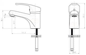 Niederdruck Einhebel Waschtischarmatur Chrom - 4