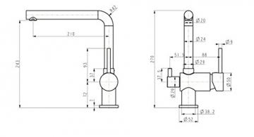 Niederdruck Küche Armatur mit Maschinenanschlauss Geräteanschluss Küchenarmatur Einhebelmischer Wasserhahn küchenarmaturen armaturen - 2