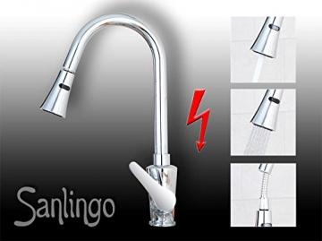 Niederdruck Spültisch Küchen Armatur mit 2 Strahlarten Chrom Sanlingo - 5