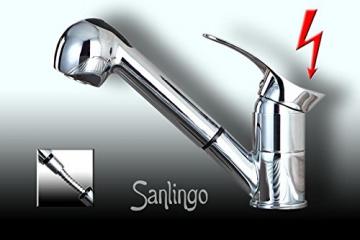 Niederdruck Spültisch Küchen Armatur schönes Design 2 Strahlarten Chrom Sanlingo - 1