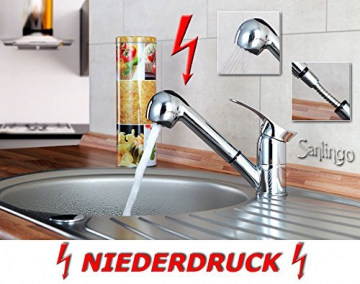 Niederdruck Spültisch Küchen Armatur schönes Design 2 Strahlarten Chrom Sanlingo - 2