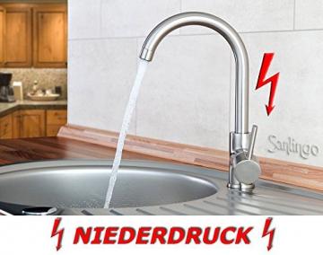 Niederdruck Spültisch Küchen Armatur schönes Design Edelstahloptik Sanlingo - 1