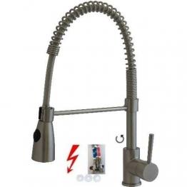 Niederdruck Spültisch Küchen Armatur Spiralarmatur 6075 Edelstahl Design - 1