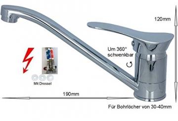 Niederdruck Spültischarmatur Küchen Armatur Chrom Design A - 2