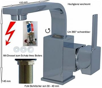 Niederdruck Waschbecken Waschtisch Armatur 8008S Chrom - 2