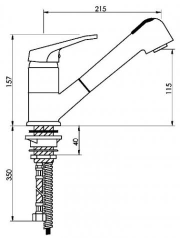 Sanifri 470010809 Spültisch- Einhebelmischer SaniLux, ND, mit herausziehbarer Geschirrbrause - 3