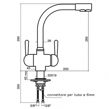 3-WEGE-NIEDERDRUCKARMATUR GM L-Auslauf Chrom für kaltes, heißes und gefiltertes Wasser. Eine elegante und stillvolle Ergänzung für Ihren Wasserfilter. Einzigartig und patentiert! Made in Italy! - 2