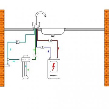 3-WEGE-NIEDERDRUCKARMATUR GM L-Auslauf Chrom für kaltes, heißes und gefiltertes Wasser. Eine elegante und stillvolle Ergänzung für Ihren Wasserfilter. Einzigartig und patentiert! Made in Italy! - 3